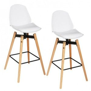 Lot de 2 tabourets de bar Wilio Blanc