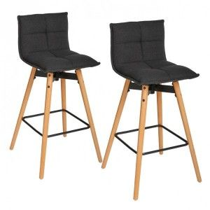 Lot de 2 tabourets de bar Atiel Gris