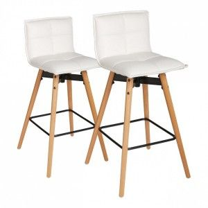Lot de 2 tabourets de bar Atiel Blanc