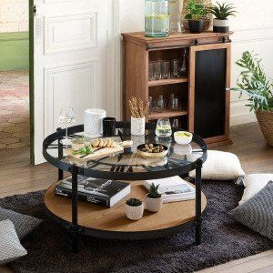 Table basse Pendule Chrono Noire