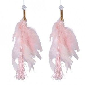 Lot de 2 suspensions Plume Aras Rose poudré