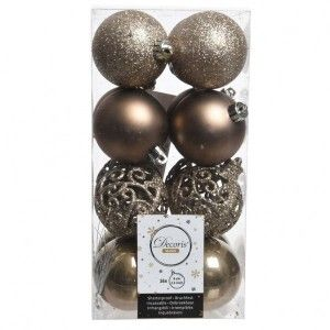 Lot de 16 boules de Noël (D60 mm) Alpine multi Marron glacé