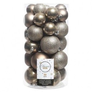 Lot de 30 boules de Noël Alpine assorties Marron glacé