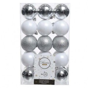 Lot de 30 boules de Noël (D60 mm) Alpine multi Blanc / Argent