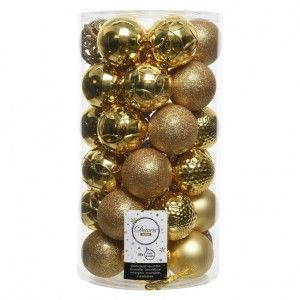 Lot de 37 boules de Noël Alpine mix Or