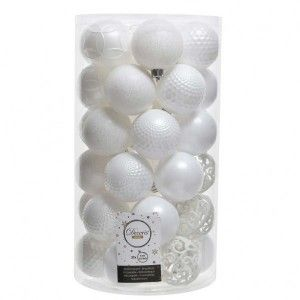 Lot de 37 boules de Noël (D60 mm) Alpine mix Blanc