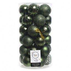 Lot de 37 boules de Noël (D60 mm) Alpine Mix Vert sapin