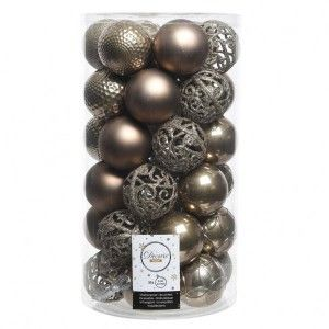 Lot de 37 boules de Noël (D60 mm) Alpine Mix Marron glacé