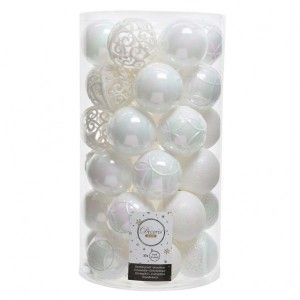 Lot de 37 boules de Noël (D60 mm) Alpine mix Blanc irisé