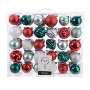 Lot de 60 boules de Noël Glasgo Rouge
