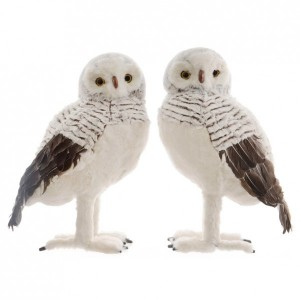 Lot de 2 chouettes Abril Gris