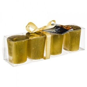 4er Set Kerzen Votive Gold