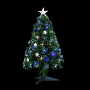 Albero di Natale artificiale pre-illuminato Flocon Alt. 90 cm Multicolore