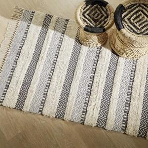 tapis coton 150 cm relief bleu - Tapis Chambre