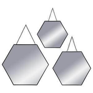 Lote de 3 espejos Hexa Negro