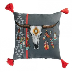 Coussin (40 cm) Indian Folk Gris anthracite