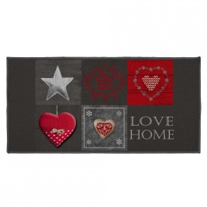 Tapis multi-usage (115 cm) Love Home Rouge