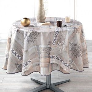 Nappe ronde (D180 cm) Ethnic Wood Taupe