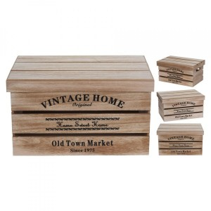 Set di 3 casse Old Town Marrone naturale