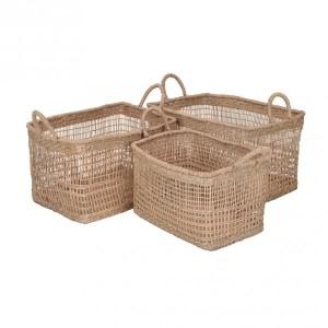 Lote de 3 cestas rectangulares Zostere Marrón natural