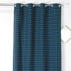 paire de voilages 70 x 200 cm galoni bleu rideau voilage store eminza. Black Bedroom Furniture Sets. Home Design Ideas
