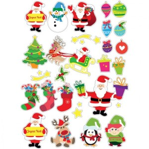 Lot de 60 stickers Père Noël Multicouleur