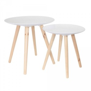 Lot de 2 tables à café Goutelette Blanches