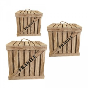 Lot de 3 cagettes Cargo Naturel