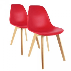 Lot de 2 chaises Coque Rouges