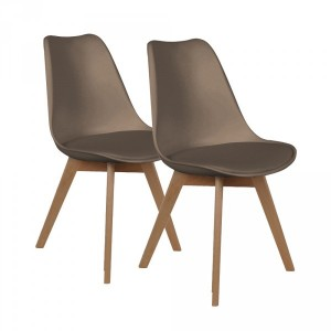 Lot de 2 chaises Lenzo Taupe