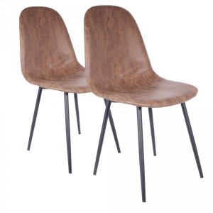 Lot de 2 chaises Brooklyn Marron