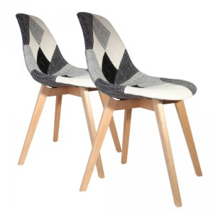 Lot de 2 chaises Flen Patchwork Grises