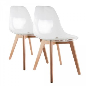 Lot de 2 chaises Maïna Transparent Blanc