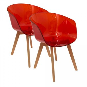 Lot de 2 fauteuils Glossy Transparent Rouge