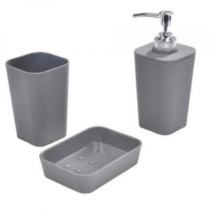 Kit accessori bagno Soft touch Grigio antracite