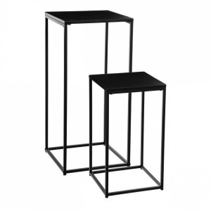 Lot de 2 tables d'appoint Gota Noires