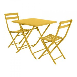 Table de jardin pliante carrée Métal Greensboro (70 x 70 cm) - Jaune moutarde