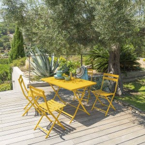 Table de jardin rectangulaire pliante Métal Greensboro (110 x 70 cm) - Jaune moutarde