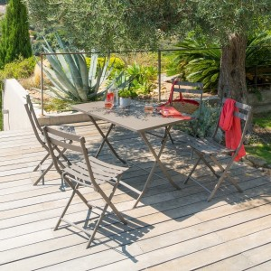 Table de jardin rectangulaire pliante Métal Greensboro (110 x 70 cm) - Marron tonka