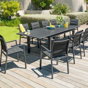 Table de jardin extensible Aluminium Azua (254 x 100 cm) - Gris graphite