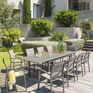 Table de jardin extensible Aluminium Azua (254 x 100 cm) - Marron tonka