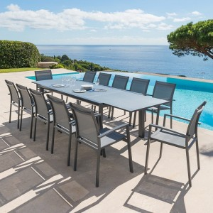 Table de jardin extensible titanium (310 x 100 cm) - Gris anthracite