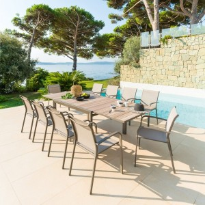 Table de jardin extensible Aluminium Evasion (280 x 109 cm) - Noisette/Marron tonka