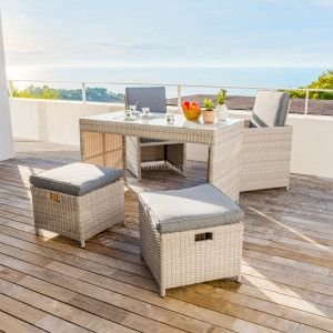 Salon pour balcon encastrable Menorca Gris - 4 places