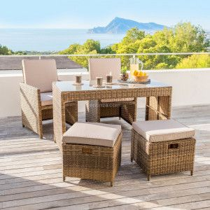 Salon pour balcon encastrable Menorca Naturel - 4 places