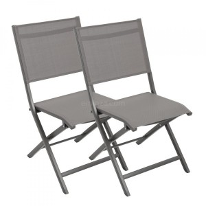 Lot de 2 chaises alu pliantes Brevia - Anthracite
