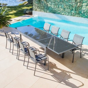 Table de jardin extensible 10 places en verre Murano (270 x 90 cm) - Anthracite