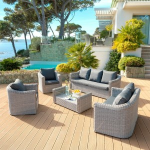Salon de jardin Calvi Gris - 7 places