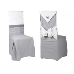housse de chaise graphique gris et motif blanc d co. Black Bedroom Furniture Sets. Home Design Ideas