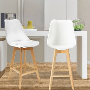 Lot de 2 tabourets de bar Scandina Blanc